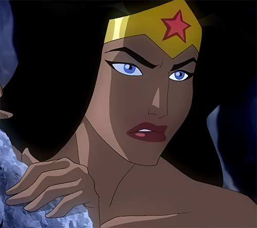 Wonder Woman (2009 animated movie version) face closeup at night