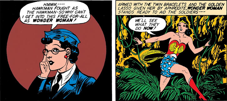 Wonder Woman in a jungle, and Diana Prince portrait (DC Comics, 1942)
