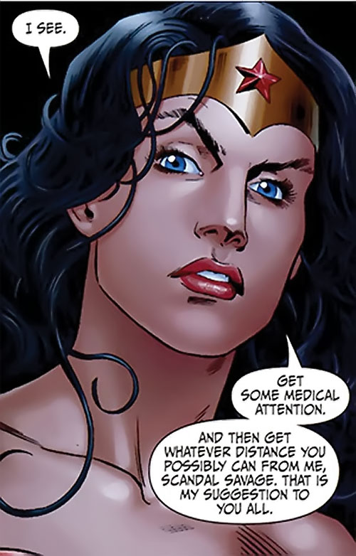 Wonder Woman (DC Comics) (Gail Simone era) coolly threatening