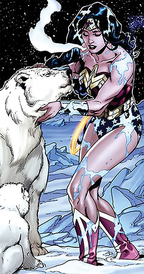 Wonder Woman (DC Comics) (Gail Simone era) with a polar bear in stark cold