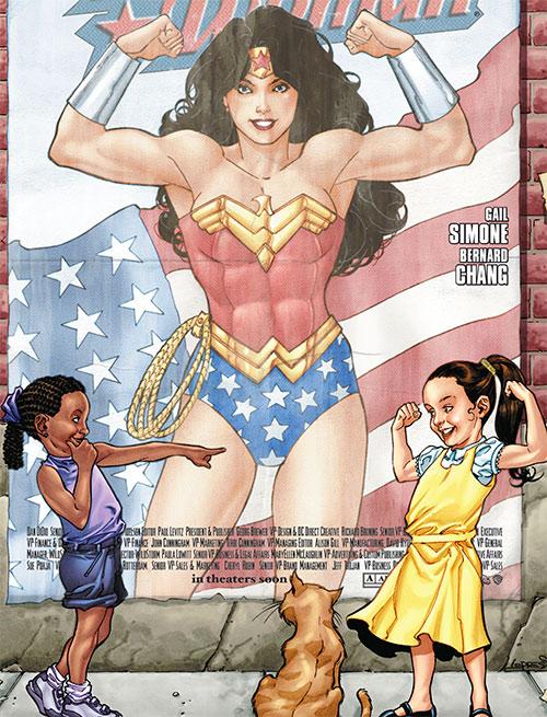 Wonder Woman (DC Comics) (Gail Simone era) poster with 2 little girls