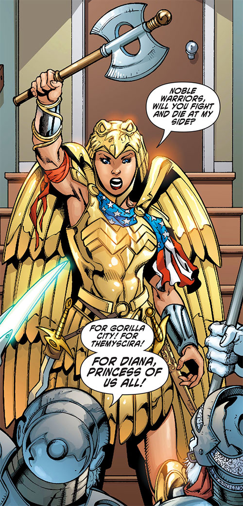 Wonder Woman (DC Comics) (Gail Simone era) in her golden eagle armor with axe raised