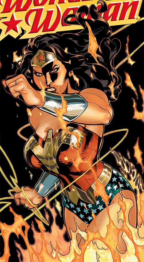 Wonder Woman (DC Comics) (Gail Simone era) in flames and darkness