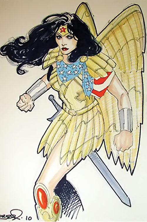 Wonder Woman (DC Comics) (Gail Simone era) sketch with golden eagle armor