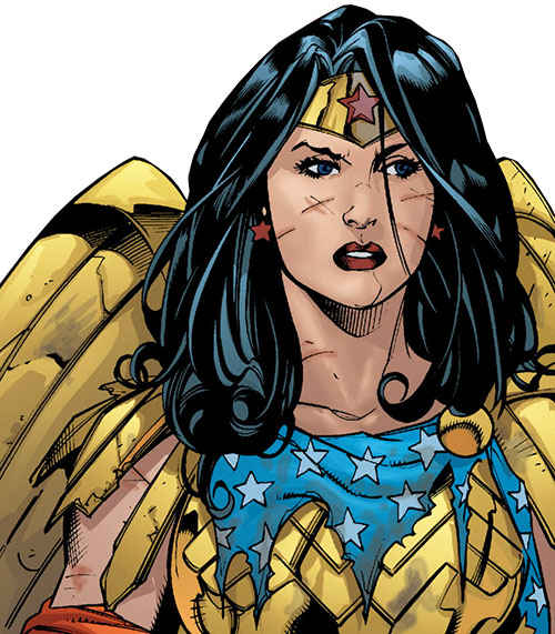 Wonder Woman (DC Comics) (Gail Simone era) wounded and in armor