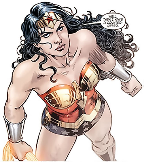 Wonder Woman (DC Comics) (Gail Simone era) ready for battle - high angle shot