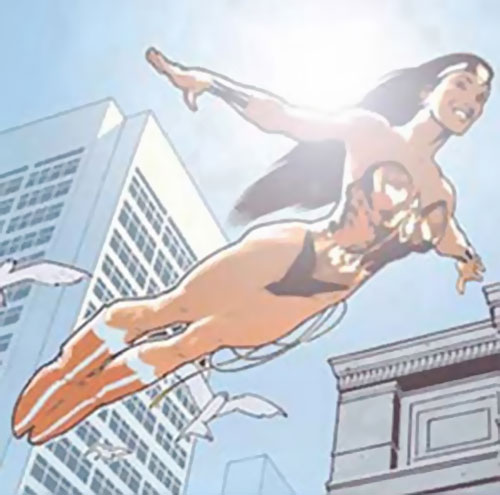 Wonder Woman (DC Comics) flying against the sun