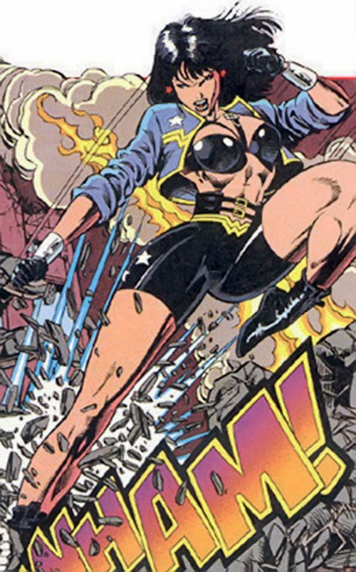 Wonder Woman (DC Comics) in black biker shorts and blue jacket
