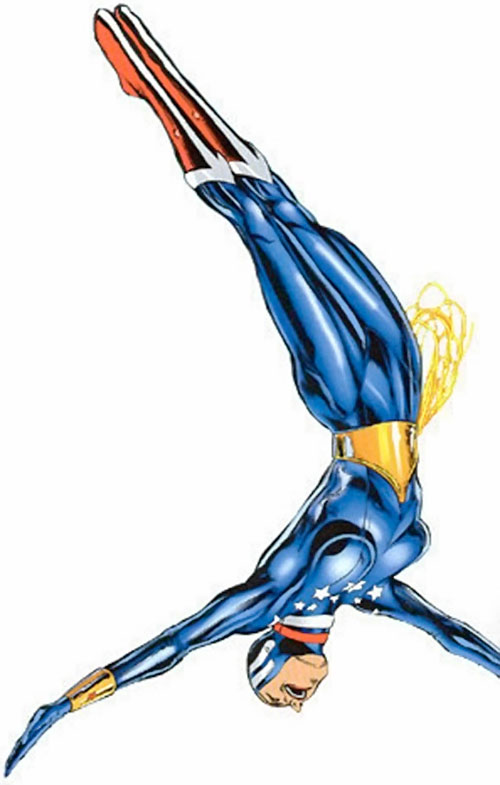 Wonder Woman (DC Comics) diving in the blue body glove