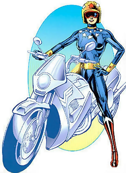 Wonder Woman (DC Comics) with invisible bike and blue body glove