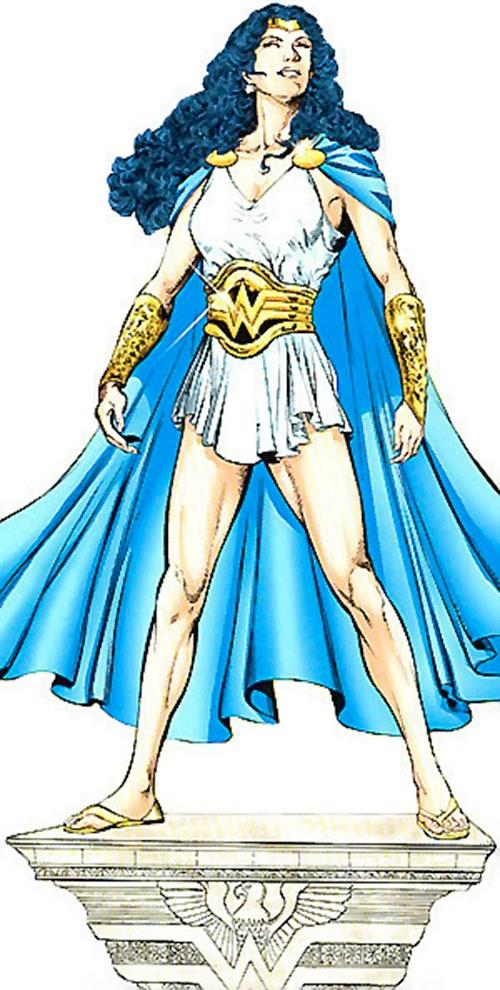 Wonder Woman (DC Comics) ina white chiton as Goddess of Truth