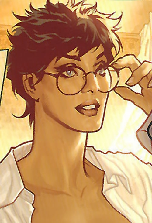 Wonder Woman (DC Comics) with short hair and glasses