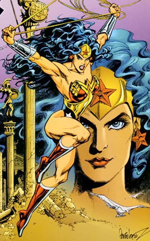 Wonder Woman (DC Comics) and Amazon statues on pillars
