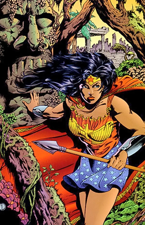 Wonder Woman (DC Comics) with skirt and camisole in a jungle