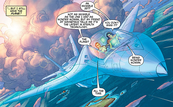 Wonder Woman flying an invisible jet