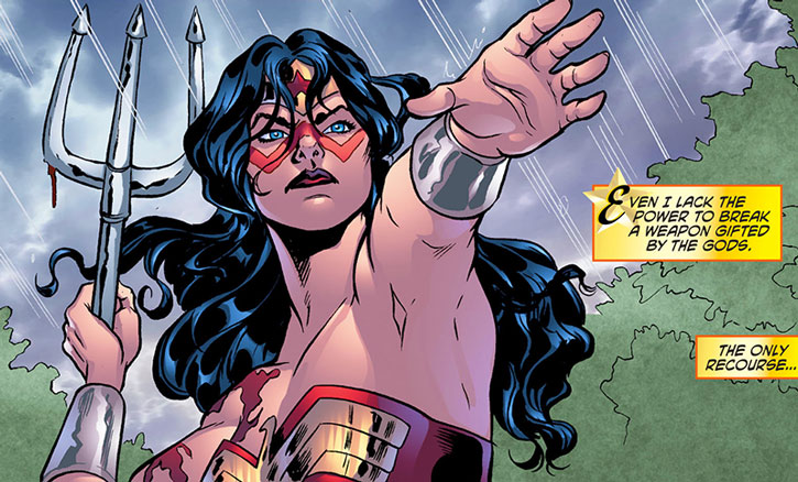 Wonder Woman hurls a trident