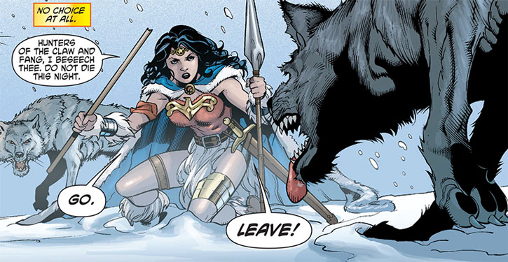 Wonder Woman confronts wolves