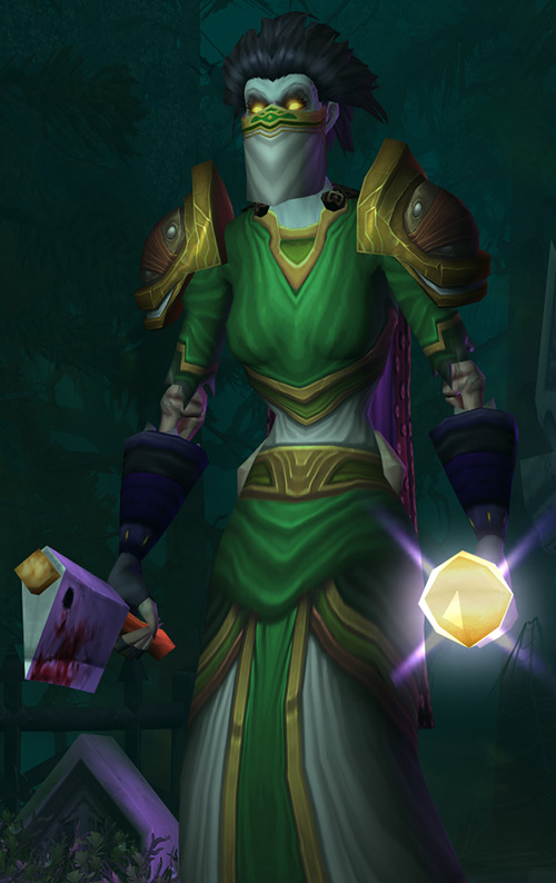 World of Warcraft - Forsaken Shadow Priest with cleaver and bandanna mask