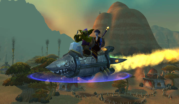 World of Warcraft - Forsaken Shadow Priest riding a goblin rocket