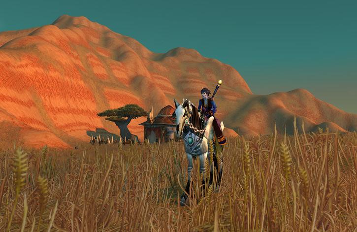 World of Warcraft - Forsaken Shadow Priest on a skeletal horse in the Barrens