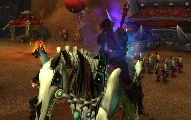 World of Warcraft - Forsaken Shadow Priest in shadow form on horse in orc base
