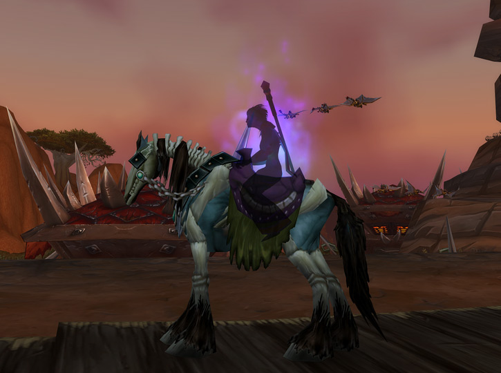 World of Warcraft - Forsaken Shadow Priest shadow form and undead mount in Orgrimmar