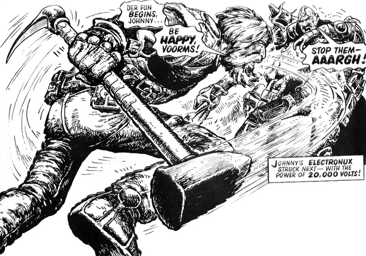Wulf Sternhammer (Strontium Dog) smashes with his mace