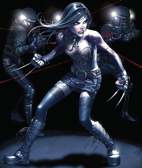 X-23 of the X-Men (Laura Kinney) (Marvel Comics) (Wolverine clone) surrounded by soldiers