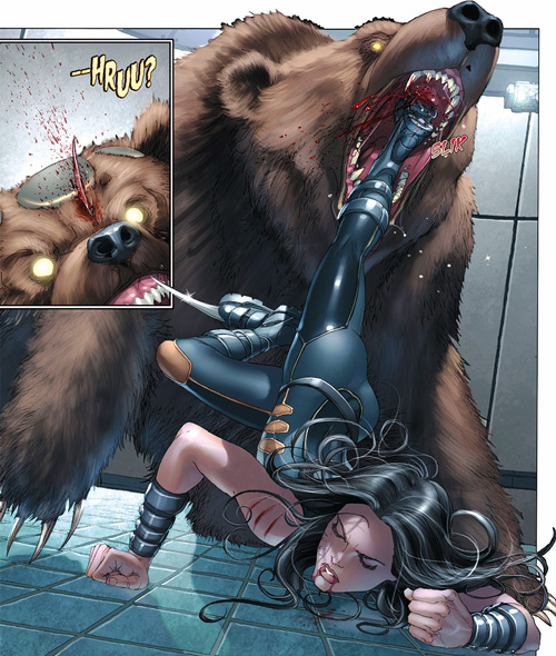 X-23 of the X-Men (Laura Kinney) (Marvel Comics) (Wolverine clone) kills a bear with her foot claws