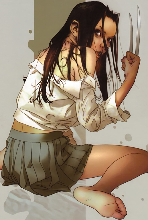 X-23 of the X-Men (Laura Kinney) (Marvel Comics) (Wolverine clone) pleated skirt and white blouse