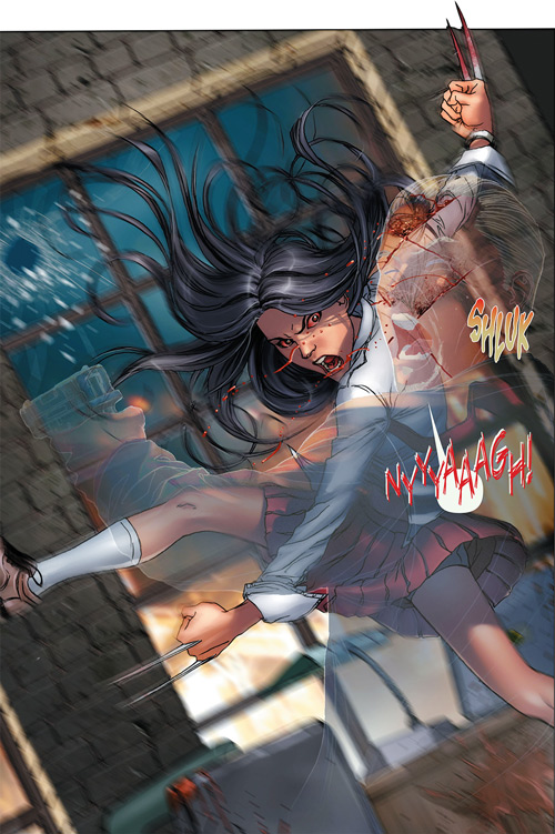 X-23 of the X-Men (Laura Kinney) (Marvel Comics) (Wolverine clone) school uniform slashes invisible man