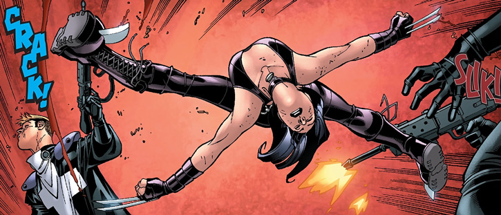 X-23 of the X-Men (Laura Kinney) (Marvel Comics) (Wolverine clone) acrobatic clawing vs. Purifiers