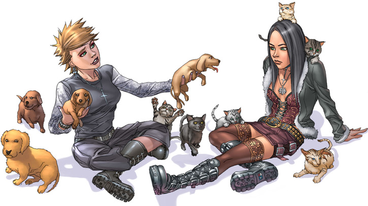 X-23 of the X-Men (Laura Kinney) (Marvel Comics) (Wolverine clone) with Kiden, puppies and kittens
