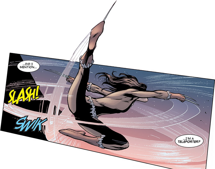 X-23 of the X-Men (Laura Kinney) (Marvel Comics) (Wolverine clone) in Fang costume, slashing