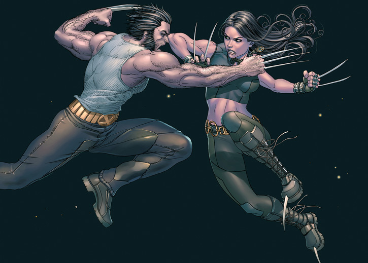 X-23 of the X-Men (Laura Kinney) (Marvel Comics) (Wolverine clone) fighting Wolverine