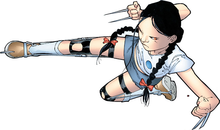 X-23 of the X-Men (Laura Kinney) (Marvel Comics) (Wolverine clone) as a little girl with leg braces