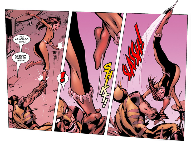 X-23 of the X-Men (Laura Kinney) (Marvel Comics) (Wolverine clone) in Fang costume vs. Wolverine