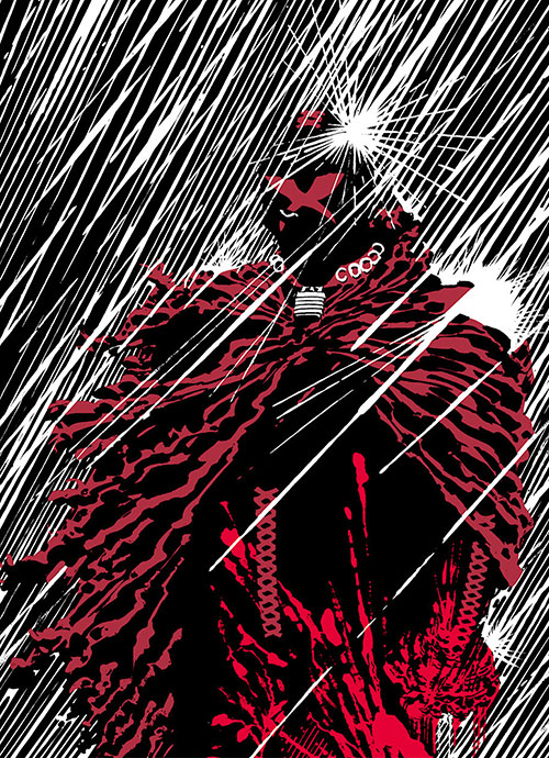X in the rain, in the style of Frank Miller