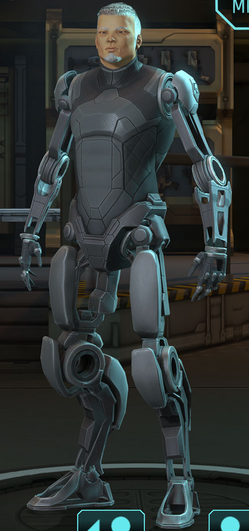 XCom video game - Chilong Zhang with cybernetic limbs
