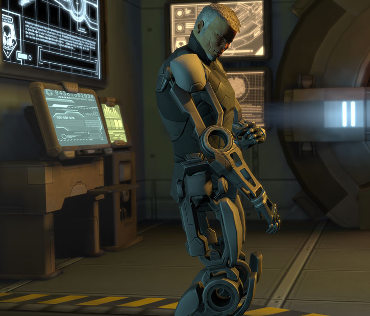 XCom video game - Chilong Zhang examining his cyber-limbs