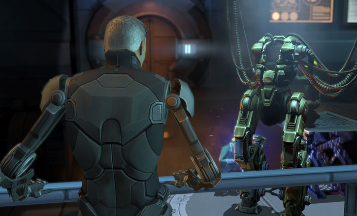 XCom video game - Chilong Zhang as a cyborg looking at an empty MEC body
