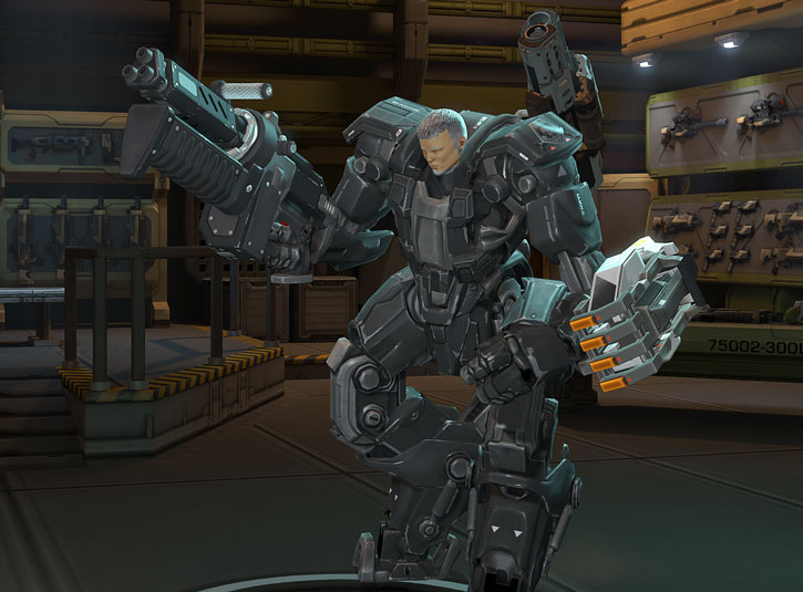 XCom video game - Chilong Zhang as a Mk2 MEC in weapons lab