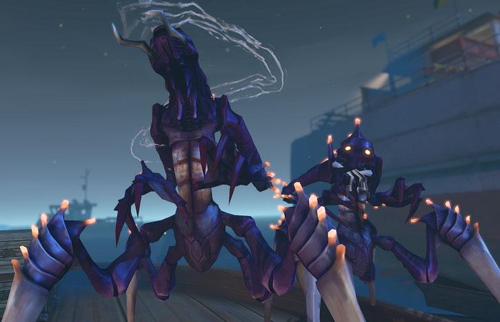 XCom: Enemy Unknown - Pair of chryssalid aliens on a wharf