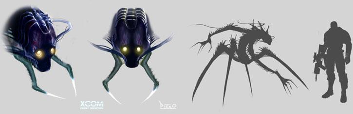 XCom: Enemy Unknown - Chryssalid alien head closeup and size comparison