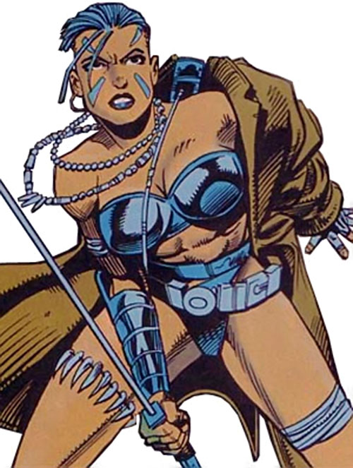 Xantia of the Super-Soldiers (Marvel Comics UK) with a sword and trench coat