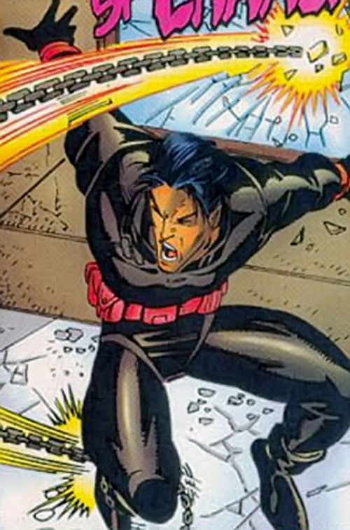 Xi'an of the X-Men 2099 (Marvel Comics) dodges a chain