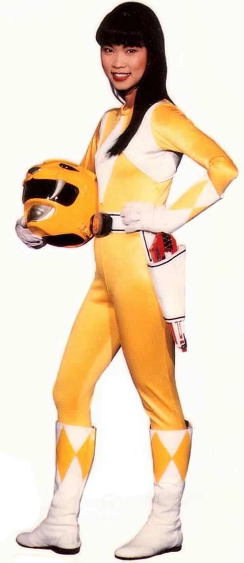 Yellow Ranger (Trini) of the Mighty Morphin Power Rangers helmet off