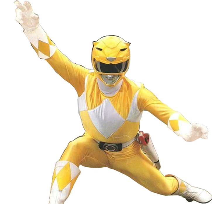 Yellow Ranger (Trini) of the Mighty Morphin Power Rangers odd pose
