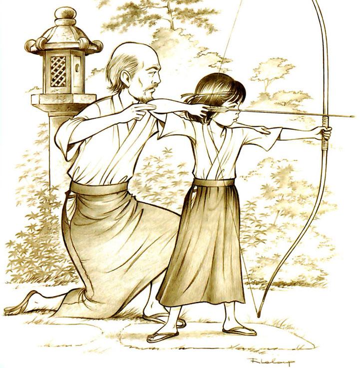 Yoko Tsuno training in archery as a girl