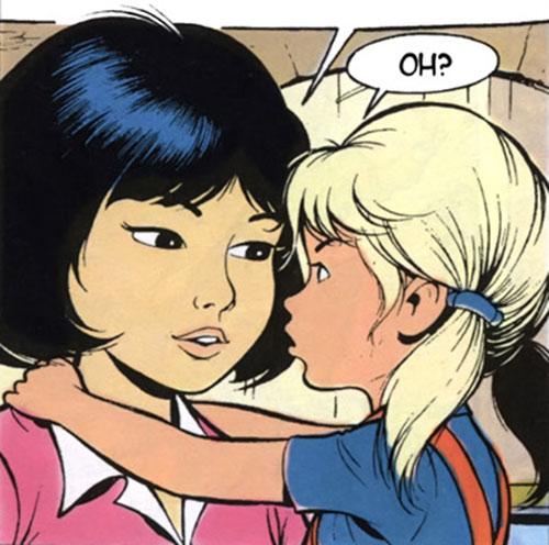 Yoko Tsuno with a blonde little girl